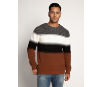 Pullover schwarz/cognac/weiß
