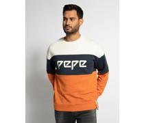 Sweatshirt offwhite/navy/orange