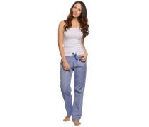 Pyjama, weiß/blau, Damen