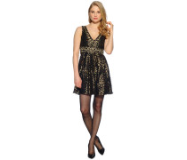 Kleid, schwarz/gold, Damen