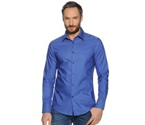 Hemd Custom Fit, royalblau, Herren