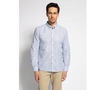 Langarm Hemd Regular Fit hellblau/weiß/gelb