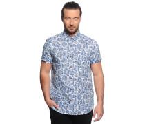 Kurzarmhemd Slim Fit, blau/weiß, Herren