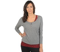 2-in-1 Longsleeve, grau/bordeaux, Damen