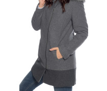 Mantel mit Kaschmiranteil grau meliert
