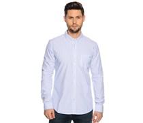 Hemd Custom Fit, weiß/blau gestreift, Herren