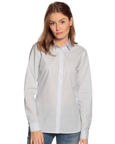 Langarm Bluse mit Webmuster hellblau