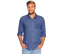 Leinenhemd Regular Fit, blau, Herren