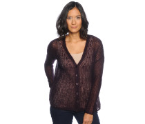 Strickjacke, aubergine, Damen