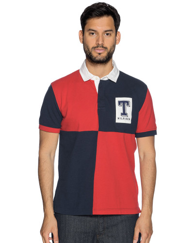 Kurzarm Poloshirt navy/rot