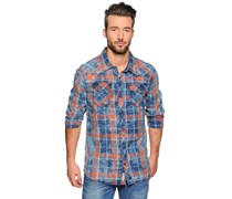 Hemd Custom Fit, blau/orange kariert, Herren