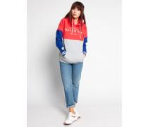 Kapuzensweatshirt rot/grau/blau
