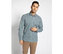 Langarm Hemd Custom Fit blau/grün