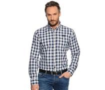 Hemd Custom Fit, blau/offwhite kariert, Herren