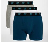 Boxershorts 3er Set blau/weiß/grau