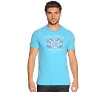 T-Shirt, blau/melange, Herren