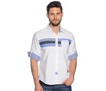 Hemd Custom Fit, weiß/blau, Herren