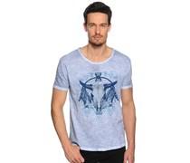 T-Shirt, blau/weiß, Herren