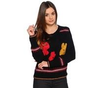 Pullover, schwarz/pink, Damen