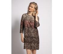 Kleid khaki/beige/rot