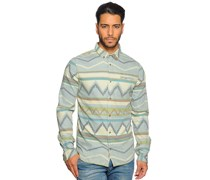 Hemd Regular Fit, beige/graublau, Herren