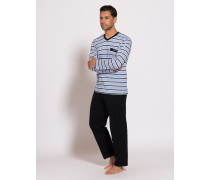 Pyjama navy/weiß