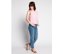 Kurzarm Bluse rosa/weiß