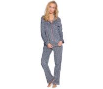 Pyjama Set, schwarz/weiß, Damen