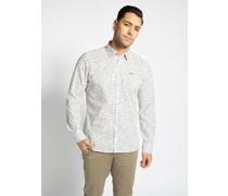 Langarm Hemd Custom Fit weiß/navy