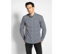 Langarm Hemd Custom Fit weiß/blau/rot