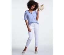 Kurzarm Blusenshirt weiß/blau