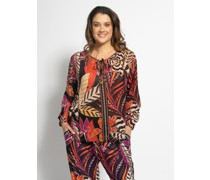 Langarm Bluse (große Größe) schwarz/orange/lila