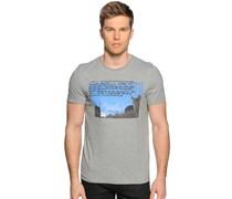 T-Shirt, grau/blau, Herren