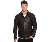 Audax Lederjacke, washed brown, Herren