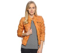 Lederjacke, orange, Damen
