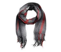 Schal, schwarz/weiß/rot, Damen