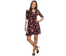 Kleid, schwarz/rot, Damen