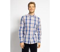 Langarm Hemd Regular Fit blau/orange