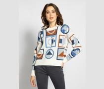 Pullover weiß/braun/blau