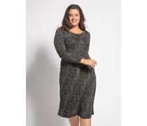 Kleid (große Größe) schwarz/weiß