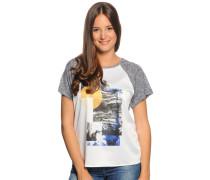 T-Shirt, weiß/navy meliert, Damen