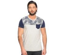 T-Shirt, blau/ecru, Herren
