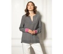 Blusenshirt schwarz/grau/pink