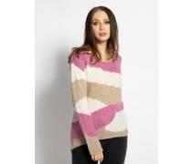 Pullover weiß/beige/pink
