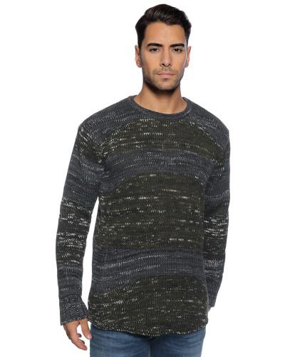 Pullover anthrazit/grün/weiß meliert