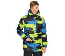 Ski-/Snowboardjacke, blau/schwarz/grün, Herren
