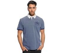 Poloshirt, blau melange, Herren