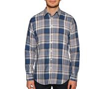 Leinenhemd Custom Fit blau/grau