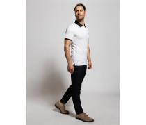 Kurzarm Poloshirt Regular Fit weiß/schwarz