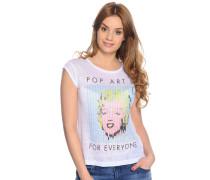 T-Shirt aus Leinen, weiß, Damen